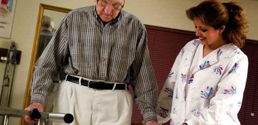 Man in physical rehabilitation